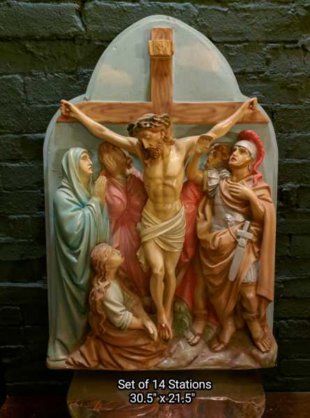 Plaster-Antique-Stations-of-the-Cross